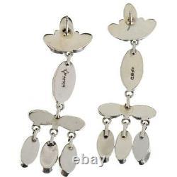 Navajo Turquoise Earrings Sterling Silver Blue Chandelier Spiderweb Dangles