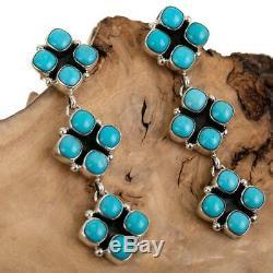 Navajo Turquoise Earrings Sterling Silver Chandelier Totem Cluster Dangles