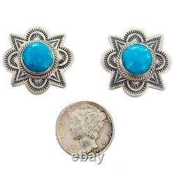 Navajo Turquoise Earrings Sterling Silver Old Pawn Style Stamped Posts Dark