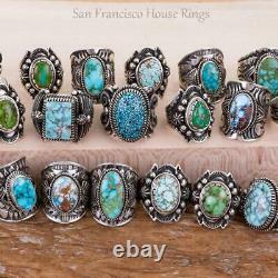 Navajo Turquoise Ring Sterling Silver Natural INDIAN MOUNTAIN Derrick GORDON 8.2