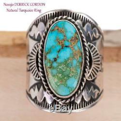Navajo Turquoise Ring Sterling Silver Natural INDIAN MOUNTAIN Derrick GORDON 9