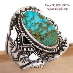 Navajo Turquoise Ring Sterling Silver Natural Indian Mt DERRICK GORDON 13 Mens