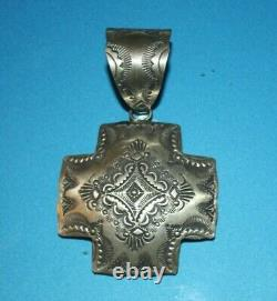 Navajo Vincent Platero Sterling Silver Repousse Concho Stamped Cross XL Pendant