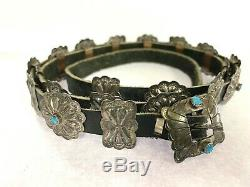 Navajo Vintage Sterling Silver Turquoise Black Leather Concho Belt & Buckle 40