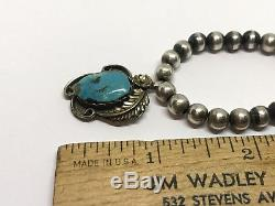 Navajo Vintage Sterling Turquoise Blossom Pendant 5.8mm Beads 16.5 Necklace