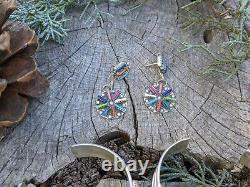 Needlepoint Bracelets Earrings Set Vintage Native American Jewelry South West
