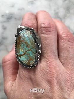 Nice Huge Vintage Navajo Royston Turquoise Sterling Silver Ring Sz 9