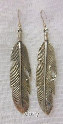 Nice Navajo Handmade Indian Native American Sterling Silver Feather Earrings