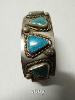 Nice Old Antique Vintage Bracelet Navajo Indian Sterling Silver Turquoise