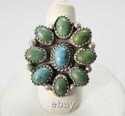 Nice Old Turquoise Cluster Ring Sterling Silver Handmade Native American