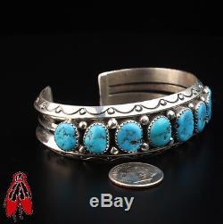 Nine turquoise stone sterling silver. 925 Bracelet Vintage Navajo old dead Pawn