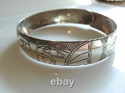 Northwest Coast Engraved Silver Bangle Bracelet