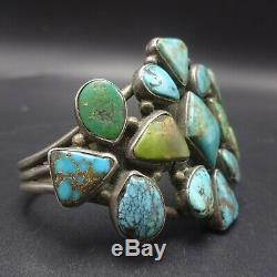 OLD 1910 to 1920s Vintage NAVAJO Sterling Silver TURQUOISE Cluster Cuff BRACELET