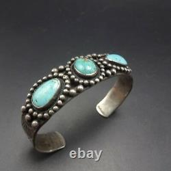 OLD 1930s NAVAJO Hand Stamped Sterling Silver TURQUOISE BRACELET Whirling Logs