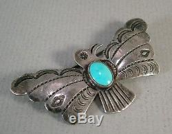 OLD PAWN VINTAGE Harvey Era NAVAJO STERLING SILVER TURQUOISE Thunder bird PIN