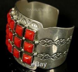 OLD PAWN Vintage Mediterranean Sea Coral Vintage NAVAJO Sterling Silver Bracelet