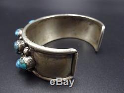 OLD Vintage NAVAJO Sterling Silver & Natural BISBEE TURQUOISE Cuff BRACELET