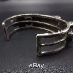 Old 1920s Vintage NAVAJO Sterling Silver & TURQUOISE Cluster Cuff BRACELET