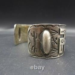 Old 1920s to 1930s NAVAJO Hand-Stamped Coin Silver Cuff BRACELET Whirling Logs