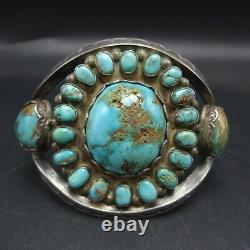 Old 1930s NAVAJO Hand-Stamped Sterling Silver TURQUOISE CLUSTER Cuff BRACELET