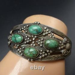 Old 1930s NAVAJO Harvey Era Hand-Stamped Sterling Silver TURQUOISE Cuff BRACELET