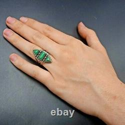 Old 1930s Vintage NAVAJO Hand-Stamped Sterling Silver TURQUOISE RING size 5.25