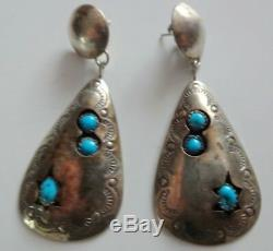 Old Mark VAL TSOSIE Sterling Silver Turquoise Native American Navajo Earrings