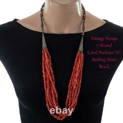 Old Navajo CORAL BEAD Necklace Sterling Silver 32in long Vintage Pawn Torsade