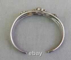 Old Original Tag Coin Silver Indian Made Satellite Domes Cuff Bracelet