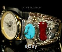 Old PAWN ZUNI Navajo Vintage Sterling 12Kgf Mens Turquoise Coral Watch Bracelet