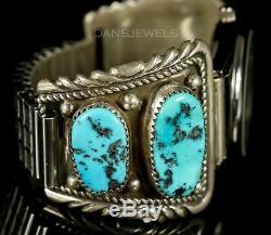 Old PAWN ZUNI Navajo Vintage Sterling MENS Kingman Turquoise Watch Bracelet