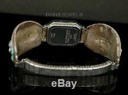 Old PAWN ZUNI Navajo Vintage Sterling Women's Les Baker Turquoise Watch Bracelet