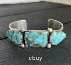Old Pawn 1890s NAVAJO INGOT Chiseled Coin Silver Turquoise Indian Cuff BRACELET