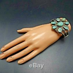 Old Pawn 1930s NAVAJO Sterling Silver NATURAL TURQUOISE Cluster Cuff BRACELET