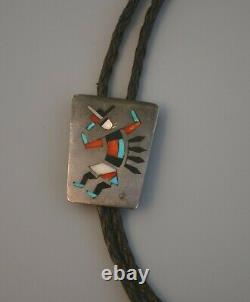 Old Pawn Early Zuni Pueblo Indian Silver Inlay Bolo Tie Rainbow Man
