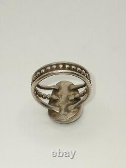 Old Pawn High Grade Natural Turquoise Navajo 900 Silver Ring Size 8. C 1920's