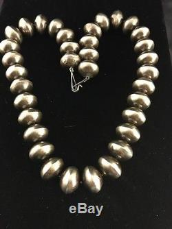 Old Pawn Native American Navajo Pearls 20mm Sterling Silver Bead Necklace Vtg