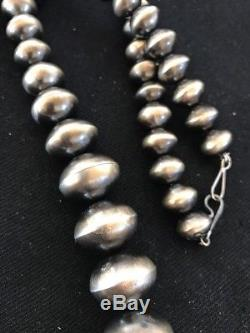 Old Pawn Native American Navajo Pearls Sterling Silver Bead Necklace Vtg