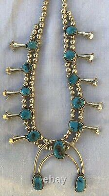 Old Pawn Navajo Bisbee Turquoise Cabochons & Sterling Squash Blossom Necklace