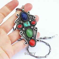 Old Pawn Navajo Multi Stone Sterling Silver Pendant Necklace Bench Made Beads