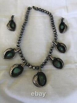 Old Pawn Navajo Royston Turquoise Squash Blossom Necklace & EARRINGS Signed