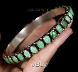 Old Pawn Vintage Leo Feenley Don Lucas Style Sterling Turquoise Bangle Bracelet