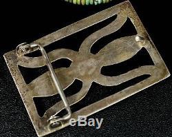 Old Pawn Vintage NAVAJO Handmade Sterling Silver SAND CAST 70's Belt Buckle