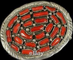 Old Pawn Vintage NAVAJO Sterling Big Mediterranean Coral & STERLING Belt Buckle