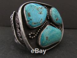 Old Pawn Vintage NAVAJO Sterling Three Large Fox Turquoise Cuff Bracelet