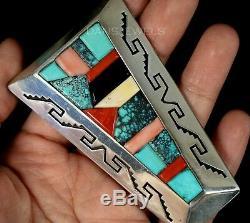 Old Pawn Vintage Navajo Cobblestone Spiderweb Turquoise 3 HUGE Pendant Enhancer
