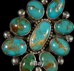 Old Pawn Vintage Navajo Green PERSIAN Turquoise BIG Cluster Ring SZ 8 SIGNED