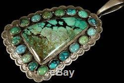 Old Pawn Vintage Navajo Spiderweb Turquoise 4 1/2 HUGE Pendant Enhancer