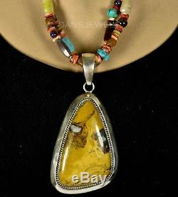 Old Pawn Vintage Navajo TURQUOISE HUGE Boulder Turquoise Pendant Necklace