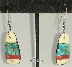 Old Santo Domingo Pueblo'depression''battery' earrings, turquoise, shell